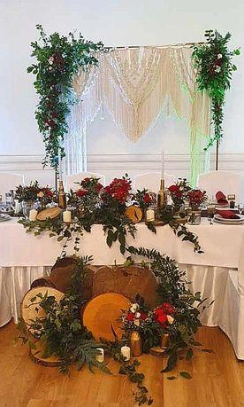 Ścianka kwiatowa, zielona makrama ślubna heksagon,okrąg, fotobudka