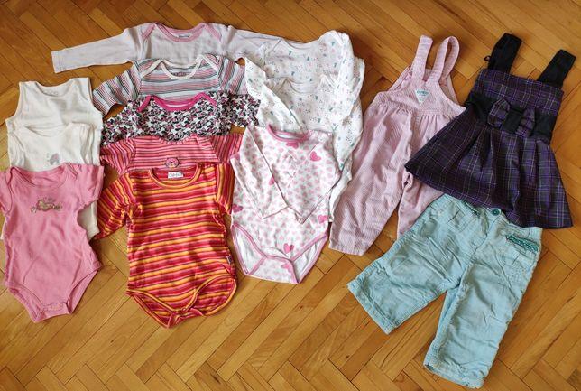 Paka zestaw 14 sztuk ubrań dziewczęce rozmiar 86 body spodnie sukienka