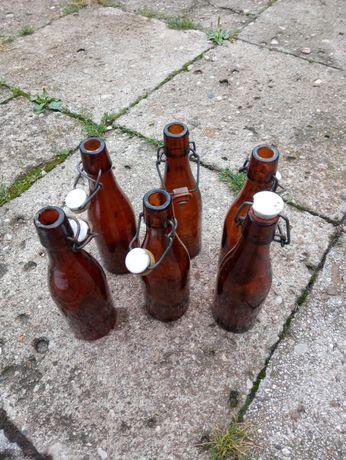 Butelka po oranżadzie z korkiem 6 sztuk