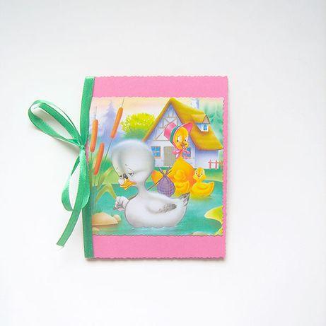 ładna kartka wiosna, kaczuszka kartka, kaczki kartka, kartka różowa ka