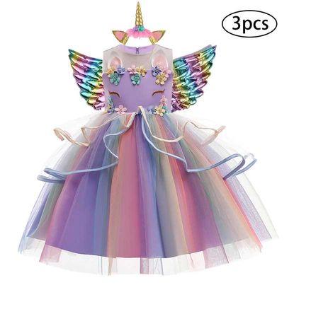 Vestido de princesa unicórnio + Asas + Bandolete