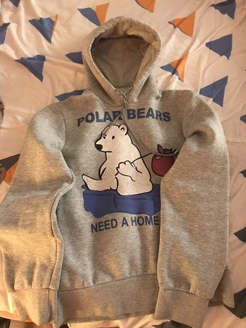 Świetna bluza z niedźwiedziem S/M kolor popiel