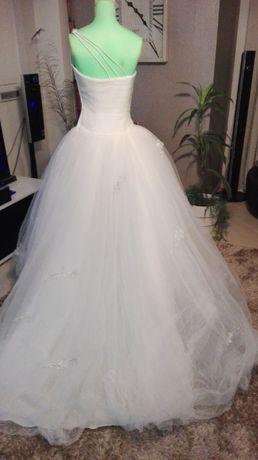 Vestido de noiva princesa tule apontamentos prata
