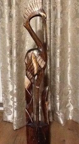 Деревянная Статуэтка Цапли с хохолком ручной работы