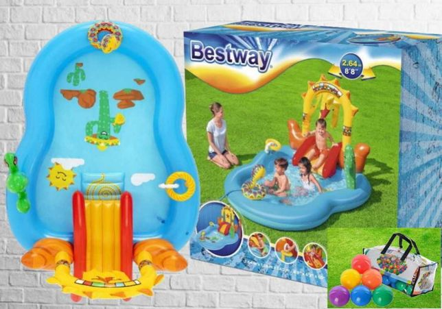 Надувной бассейн горка мячики детский развлекательный центр