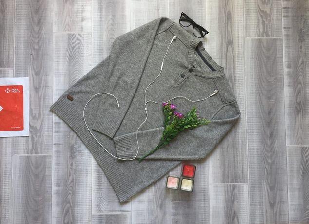 Свитер серый Rocha, размер М L, тёплый котон шерсть кофта худи