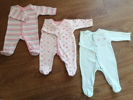 Pajacyki niemowlęce COOL CLUB Smyk 56 3 szt wywijane rękawki