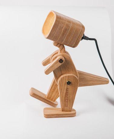 Деревянная лампа-динозавр, настольная лампа Дино