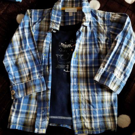 Синяя в клеточку рубашечка на мальчика 9 мес.Состояние отличное