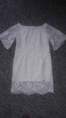 Biała sukienka koronkowa roz 38 stan idealny