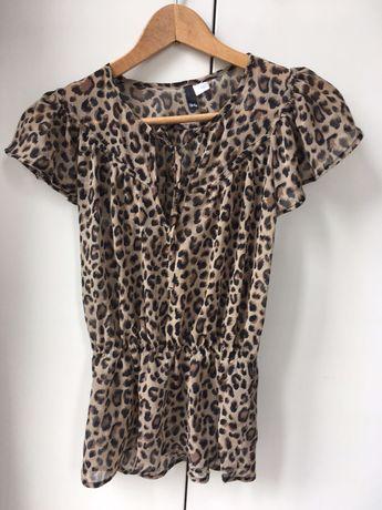 Bluzeczka bluzka z krótkim rękawkiem w panterkę Rozmiar 34 H&M