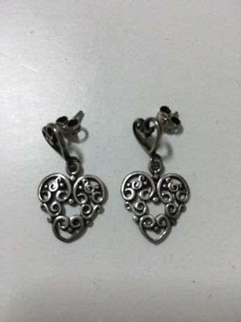 Brincos corações prata