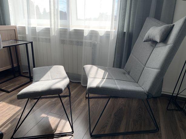 Fotel szary z podnóżkiem
