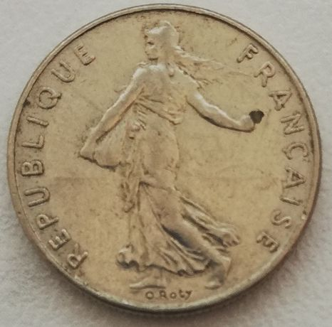 Francja 1/2 Franc RepubliqueFrancaise 1974 nikiel