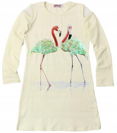 Sukienka z cekinowymi flamingami 128