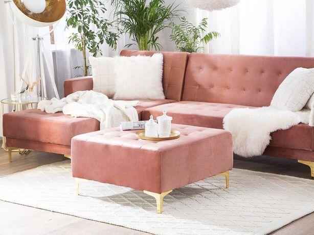 Repousa-pés em veludo rosa ABERDEEN - Beliani