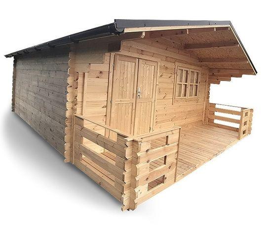 Domek drewniany ogrodowy letniskowy 400x400 +Taras 150x400-Balik 35mm