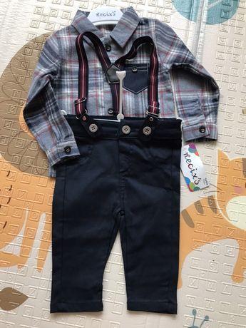 Костюм новый с бирками Necix's на рост 62-74, рубашка, брюки, подтяжки