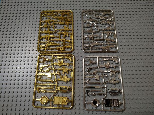 Лего оружие для человечков. Спецназ, военные. Золотое и серебряное.