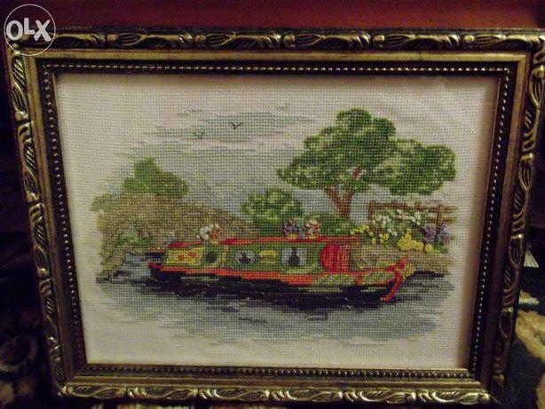 """Картина ручной работы """"гондола на реке"""" в рамке"""