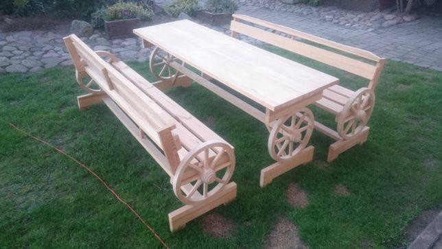 Stół na kołach od wozu z ławami promocja ostanie sztuki