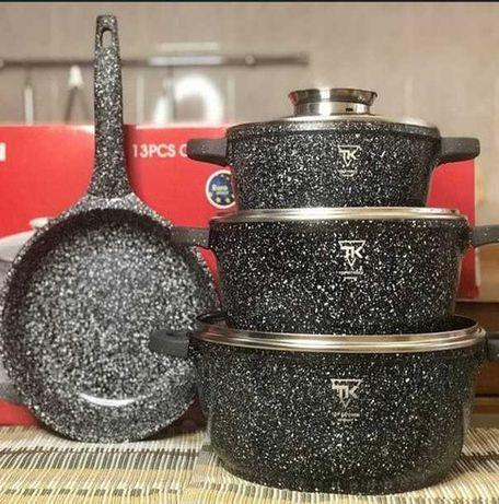 Набор кухонной посуды с мраморным покрытием 1 сковорода 3 кастрюли