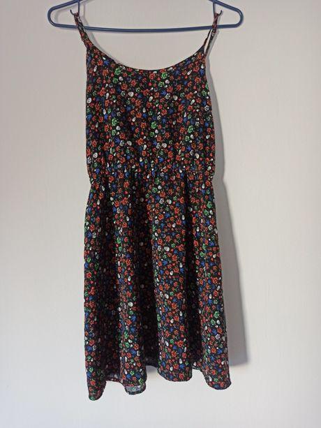 Sukienka letnia krótka nowa na ramiączkach czarna w czaszki H&M 36 S