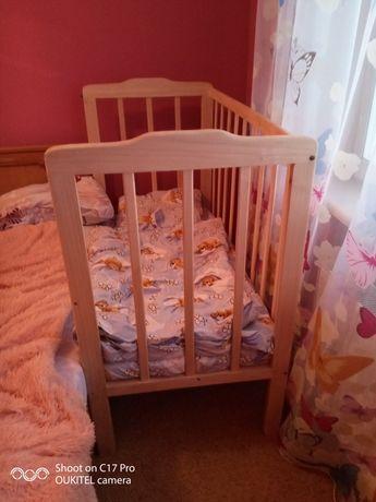 Дерев'яне дитяче ліжечко 2 шт. З матрацом