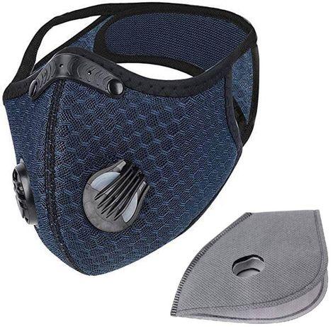 Maska sportowa antysmogowa niebieska + filtry
