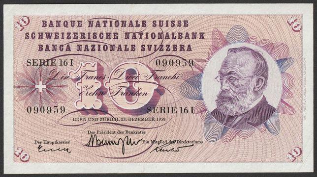 banknot Szwajcaria 10 franków 1959 - stan bankowy - UNC -