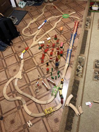 Деревянная детская железная дорога огромный комплект из 5 наборов