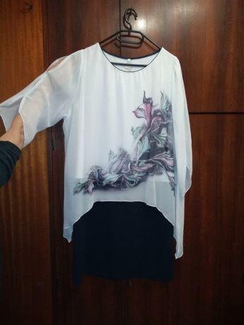 Sukienka Damska Biała Granatowa Wzór Rozmiar 50