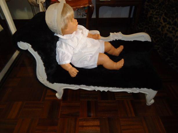 Sofá Brinquedo Chaselong Madeira lacada branca pêlo ecológico