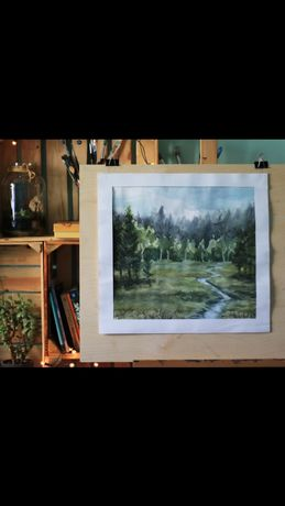 Duży obraz akwarela, strumień leśny