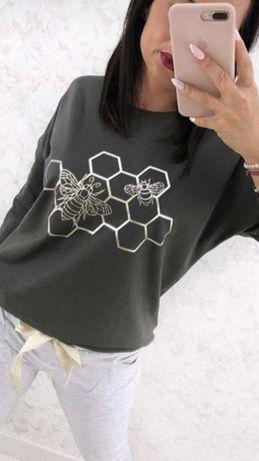 Bluzka ze złotym nadrukiem i pszczołami khaki