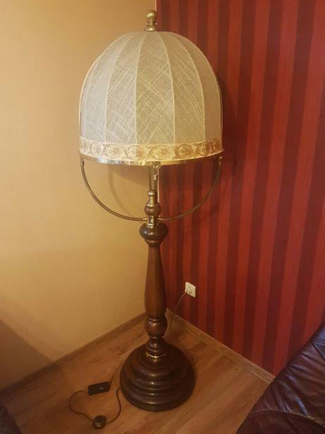 Lampa stojąca dębowa retro antyk mosiężna unikat złoto jak nowa drewno