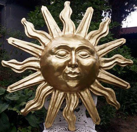Słońce, Złote,Ozdoba na ścianę, symbol słońca, rękodzieło.