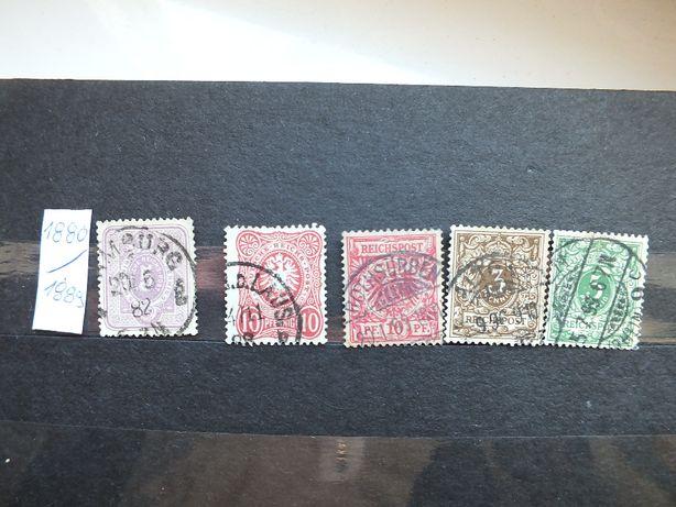 zestaw stare znaczki 5szt. 1880/1889r.,Niemcy Rzesza, kasowane Reich