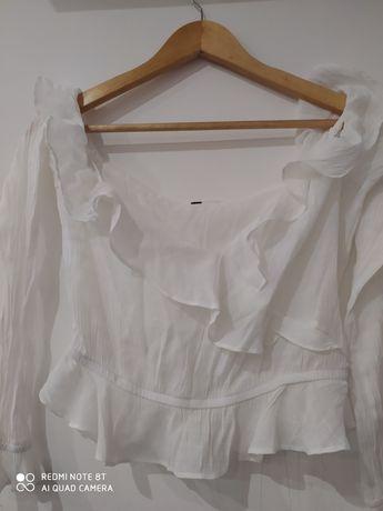 Bluzka Bohoo biała lekka przewiewna na ramiona M długi rękaw