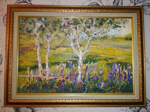 """Картина """" Люпін цвіте"""", 2011р.,полотно, олія. 32*48см"""