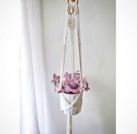 Kwietnik wiszący, makrama w kolorze naturalnym, ecru, handmade