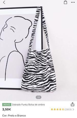 Saco de ombro com padrão de zebra NOVO