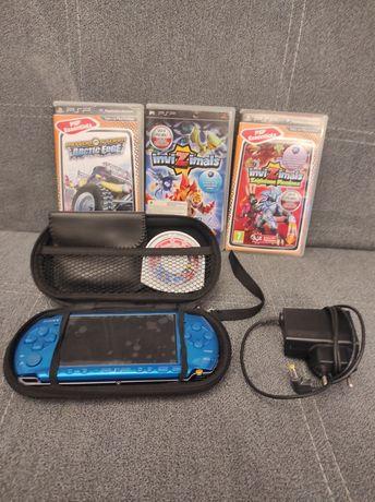 PSP edycja limitowana turkusowy z grami, etui i kamerą