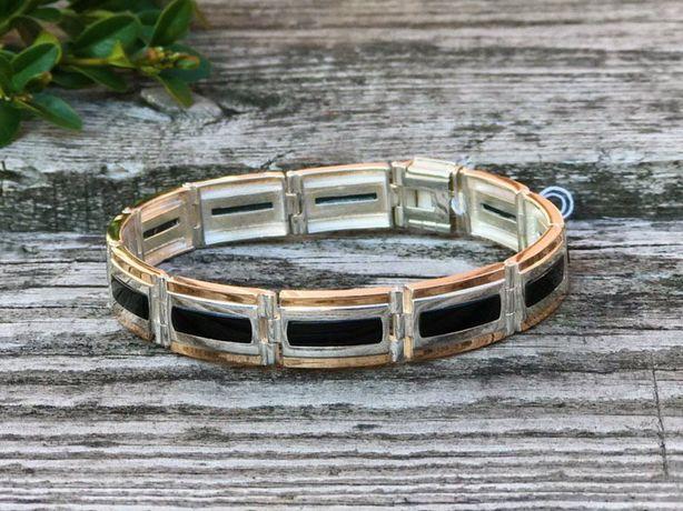 Мужской серебряный браслет, комбинированный с золотом.