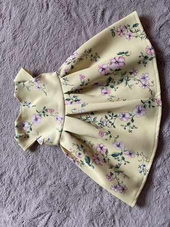 Sukienka letnia zolta w kwiatki roz 12-18 miesiecy