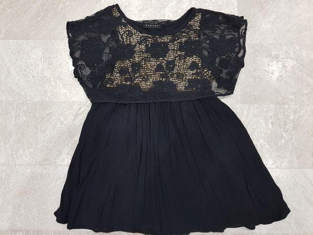 SISLEY sukienka czarna, koronka, złote cekiny rozm.110/116 jak nowa