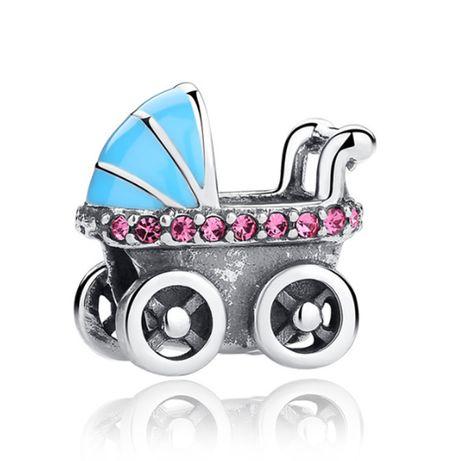 Charms PANDORA srebro 925 wózek dla dziecka emalia niebieska cyrkonie