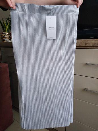 Plisowana srebrna spódnica wysoki stan