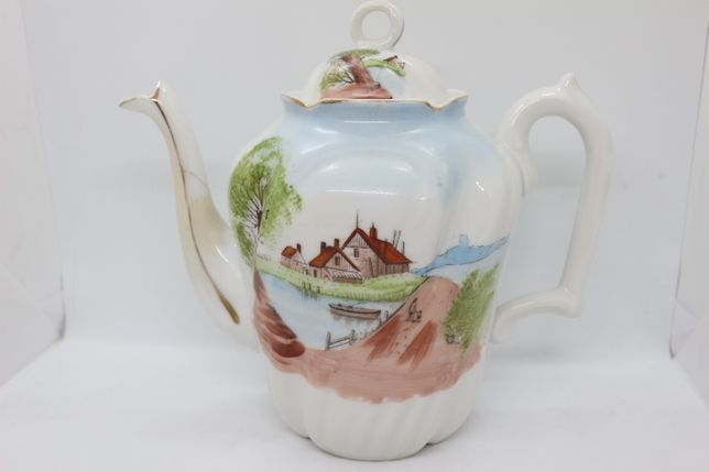 Bule de Chá com paisagem Vista Alegre 1881 RARO