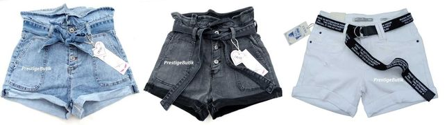 Włoskie białe spodenki szorty jeansowe jeansy pasek baggy M